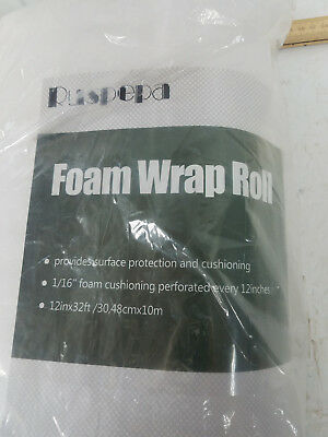 "32 Foot Foam Roll! 1/16"" Thick/12"" Wide! Perforated Every 12"" Foam Wrap"