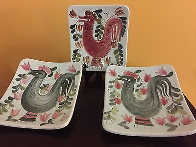 """Mid Century Modern """"Rooster"""" Arabia Finland Ceramic Wall Plaques Plates"""