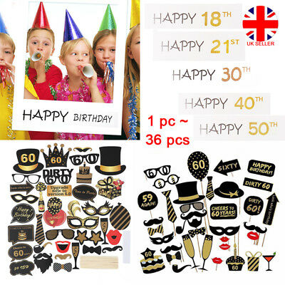 1830405060th 21st Frame Photo Booth Props Happy Birthday Party