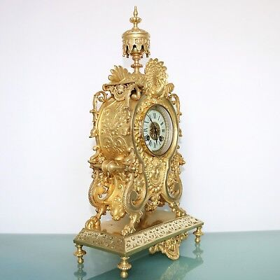 French MARTI Antique Mantel Clock 1880's GILDED BRONZE! Chime Neuchatel Console
