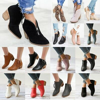 New Women Ladies Ankle Boots Zipper Low Heel Casual Flat Fashion Shoes Sizes 3-8