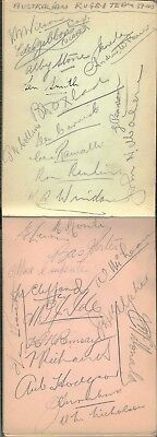 Ultra Rare 1939-40 Australian Rugby Team To Uk Hand Signed Album Pages X 29 Sigs