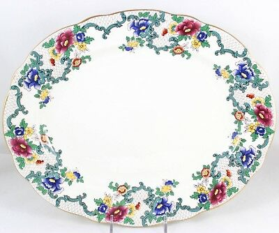 "Excel 13"" Oval Serving Platter Royal Cauldon China Victoria Scalloped Gold V7173"