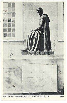 St Martinville Louisiana LA Statue of Evangeline Postcard White Border Fournet