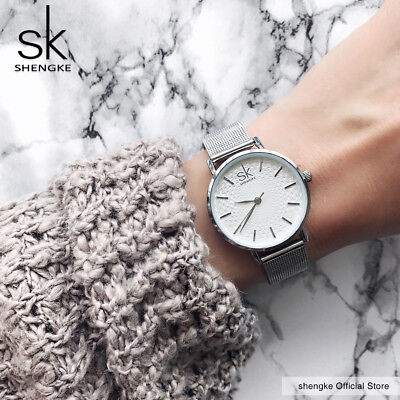 SK Super Slim Sliver Mesh Stainless Steel Watches Women Top Brand Luxury Casual