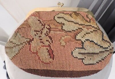 Antique 1940'S Tapestry Bag Made In France -Tapisserie Ancienne