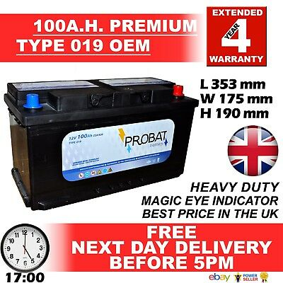 E.U. New Genuine OEM Heavy Duty Car Battery -Type 019 017 100ah 4 YEAR GUARANTEE