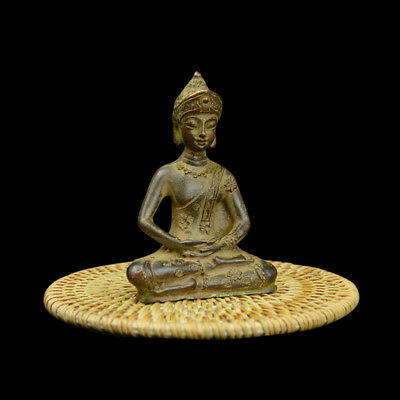 Ancient Tibet prayer Buddha Bronze statue Buddha Old Statue Figurine 9*6*4cm