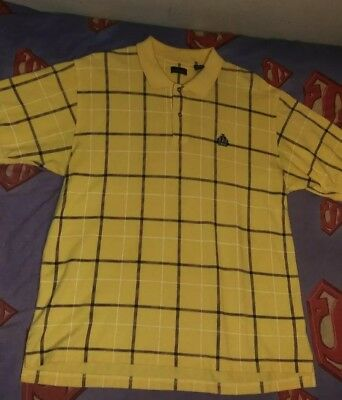 Mens IZOD Polo Shirt Yellow w/ Blue Checks NEW! 100% Cotton