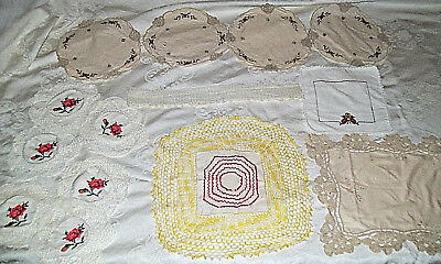 Lot of 14 Vintage Crochet & Needlework Doilies Linens Table Clothes Cross Stitch