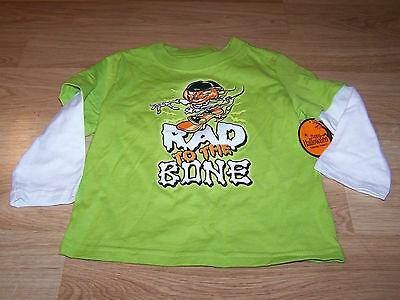 Size 24 Months Halloween Rad to the Bone Skate Lime Green Graphic T Shirt Top