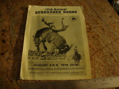 RARE VINTAGE 1978 12th Annual EVERGREEN COLORADO RODEO Events Flyer