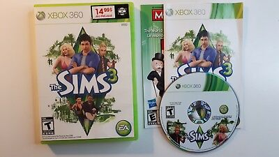 The Sims 3 Microsoft Xbox 360 Video Game Complete CIB - FAST FREE SHIPPING !!