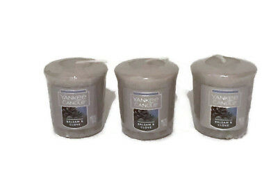 YANKEE CANDLE BALSAM /& CLOVE WRAPPED VOTIVES X 3  FAVORITE SCENT HTF