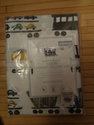 Pottery Barn Kids Merry & Bright Train Standard Pillowcase   New