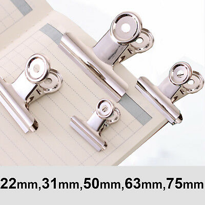 UK Chrome Metal Silver Grip Clip Letter Binder Paper Clamp Bulldog Clips Office