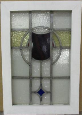 "MID SIZED OLD ENGLISH LEADED STAINED GLASS WINDOW Gorgeous Geometric 16"" x 23"""