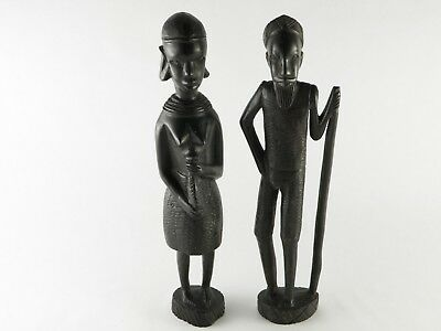 Vintage African Tribal Ebony Statue Pair Man Woman Farmer Hand Carved Wooden