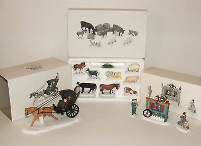 Department 56 Lot of 3 Heritage Village Accessories Kings Road Cab Farm Animals