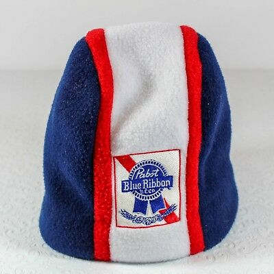 Pabst Blue Ribbon PBR Beer Embroidered Fleece Beanie Hat