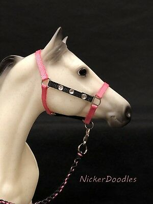Breyer Traditional size-Stock Halter & Lead Rope-Dazzled Pink/Black