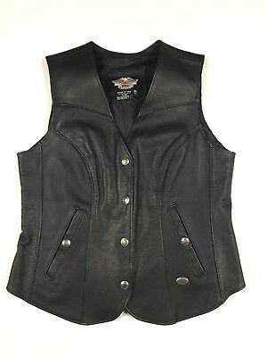 Women's Black Harley Davidson Leather Vest Made In The USA Size Large