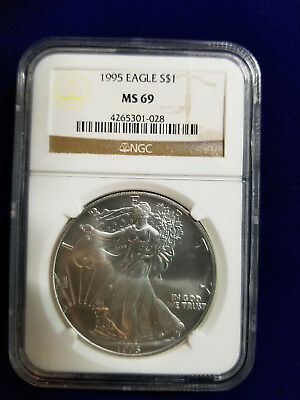 (1) 1995 $1 American Silver Eagle Coin ~ Ngc Ms 69 ~  Low Mintage