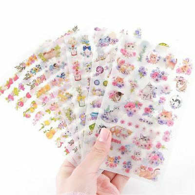 Cute 6X DIY Stickers Cartoon Flower Cat Scrapbooking Notebook Diary Album Decor