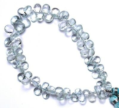 """Natural Gem Aquamarine Faceted 7x5 to 11x8MM Pear Shape Briolette Beads9"""" Strand"""