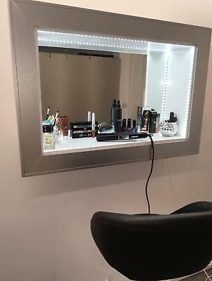 Hollywood style mirror with LED illumination Make up station Blow Dry Bar Silver