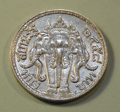 Thailand 1 Baht 1915 Silver World Coin King Rama VI Thai Elephant High Grade