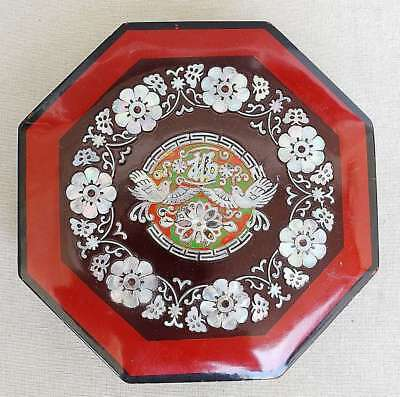 China Antique  Inlaid Mother Of Pearl Fauna Lacquered Wood Jewelry Octagonal Box