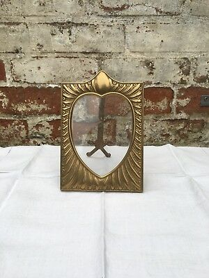 Antique Art Nouveau Brass Picture Frame Heart, Vintage