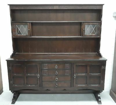 Dark Oak Welsh Kitchen Dresser With Shelves, Drawers And Cupboards