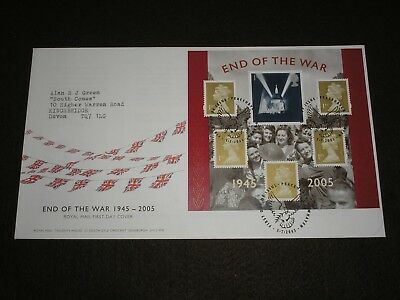 2005 GB Stamps END OF THE WAR First Day Cover MINI SHEET PEACEHAVEN Cancels FDC