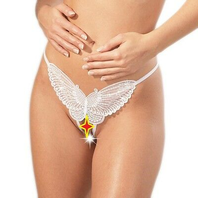 63981b70095 2 X Sequined White Butterfly G-String Crotchless Women Knicker Underwear  260266