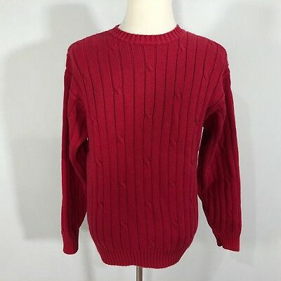 J Crew Men Pullover Crew Neck Sweater Top Size Large Red Cable Knit Cotton  D147 bdaf43c0e