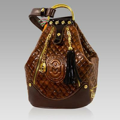 3cd9192ff6 Marino Orlandi Designer Quilted Maroon Leather Oversized Sling Purse Bucket  Bag
