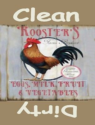 METAL DISHWASHER MAGNET Image Of Rooster Chicken Clean Dirty Dishes MAGNET