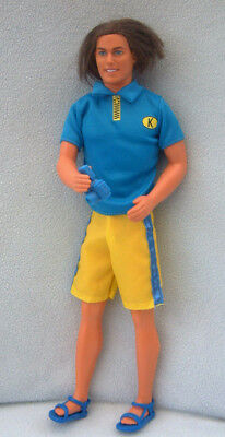 Barbie vintage 80s KEN doll - longish rooted hair - in blue shorts beach outfit
