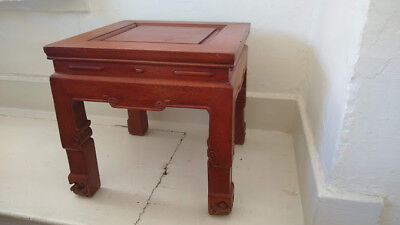 "Vintage 12"" Square Wood Hand Carved Dragon Feet Chinese Low Stool/Table"