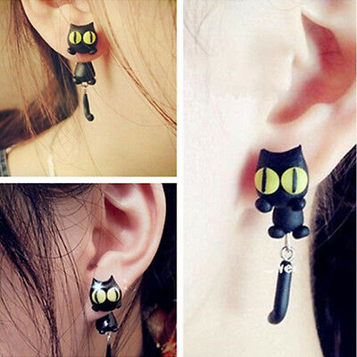 1 Pair Fashion Jewelry Women's 3D Animal Cat Polymer Clay Ear Stud Earring Kq