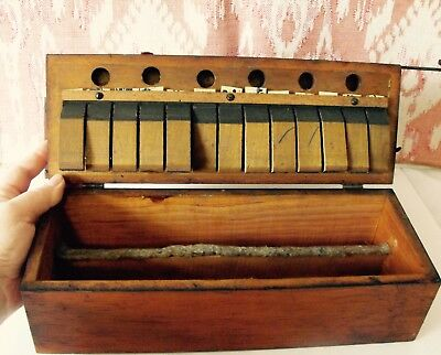 Antique Joined Wood Decorative Mystery Musical Device Pedals Pegs