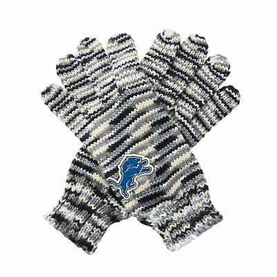 "TWO PAIRS of Detroit Lions ""Gloves Off' Space Dye Striped Logo Gloves, One Size"