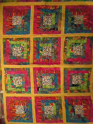 Bright Multi-Color colorful Child's Quilt Blanket Throw Animal print 33 x 44