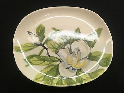 Rare Vintage Mid Century Red Wing Pottery Magnolia Platter Hand Painted