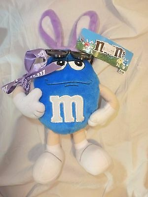 M & M Easter Plush Blue with Purple Bunny Ears & Sunglasses 2001 FREE SHIPPING