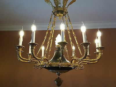 "c1815 34"" EMPIRE Regency Chandelier Chiseled Gilded bronze MUSEUM quality ormolu"