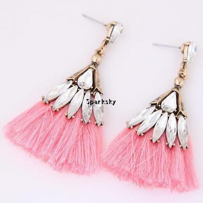 Pink Vintage Style Rhinestone Detail Tassel Retro Style Earrings Gift Party