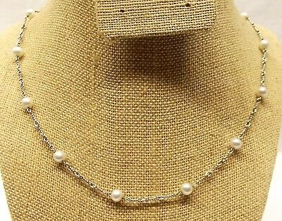 """Vtg 14K White Gold Cultured Pearl Necklace Strand 5.75mm 18"""" Estate Chain Italy"""